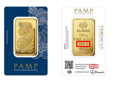 100g 999.9 Pamp Fortuna Gold Bar is GST Exempted